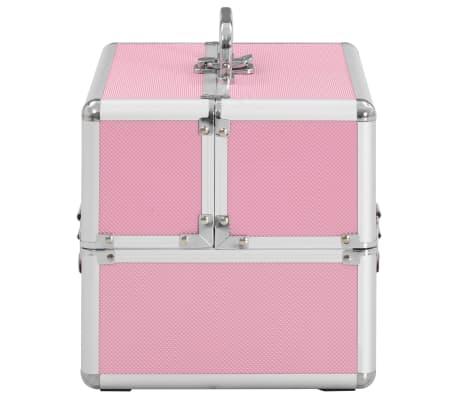 vidaXL makeupkuffert 22 x 30 x 21 cm pink aluminium[4/6]