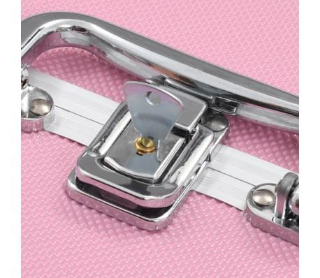 vidaXL makeupkuffert 22 x 30 x 21 cm pink aluminium[6/6]
