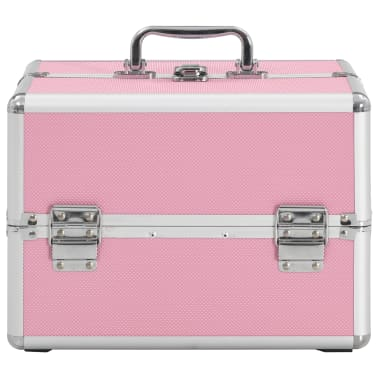 vidaXL makeupkuffert 22 x 30 x 21 cm pink aluminium[3/6]