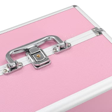 vidaXL makeupkuffert 22 x 30 x 21 cm pink aluminium[5/6]