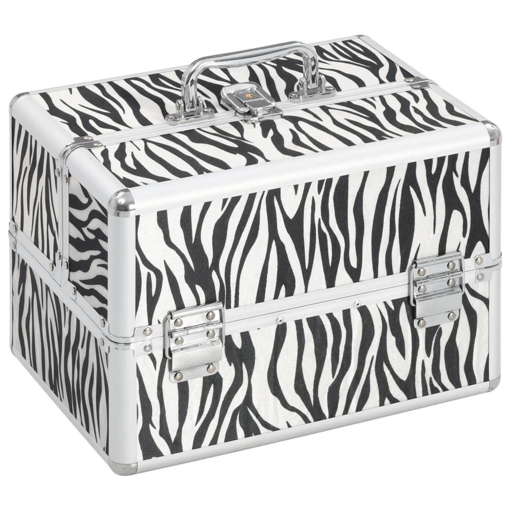 vidaXL Kosmetický kufřík 22 x 30 x 21 cm zebří pruhy hliník