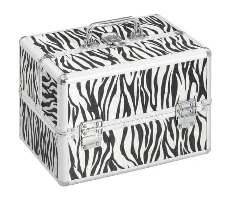 vidaXL Kuferek na kosmetyki, 22x30x21 cm, w paski zebry, aluminiowy