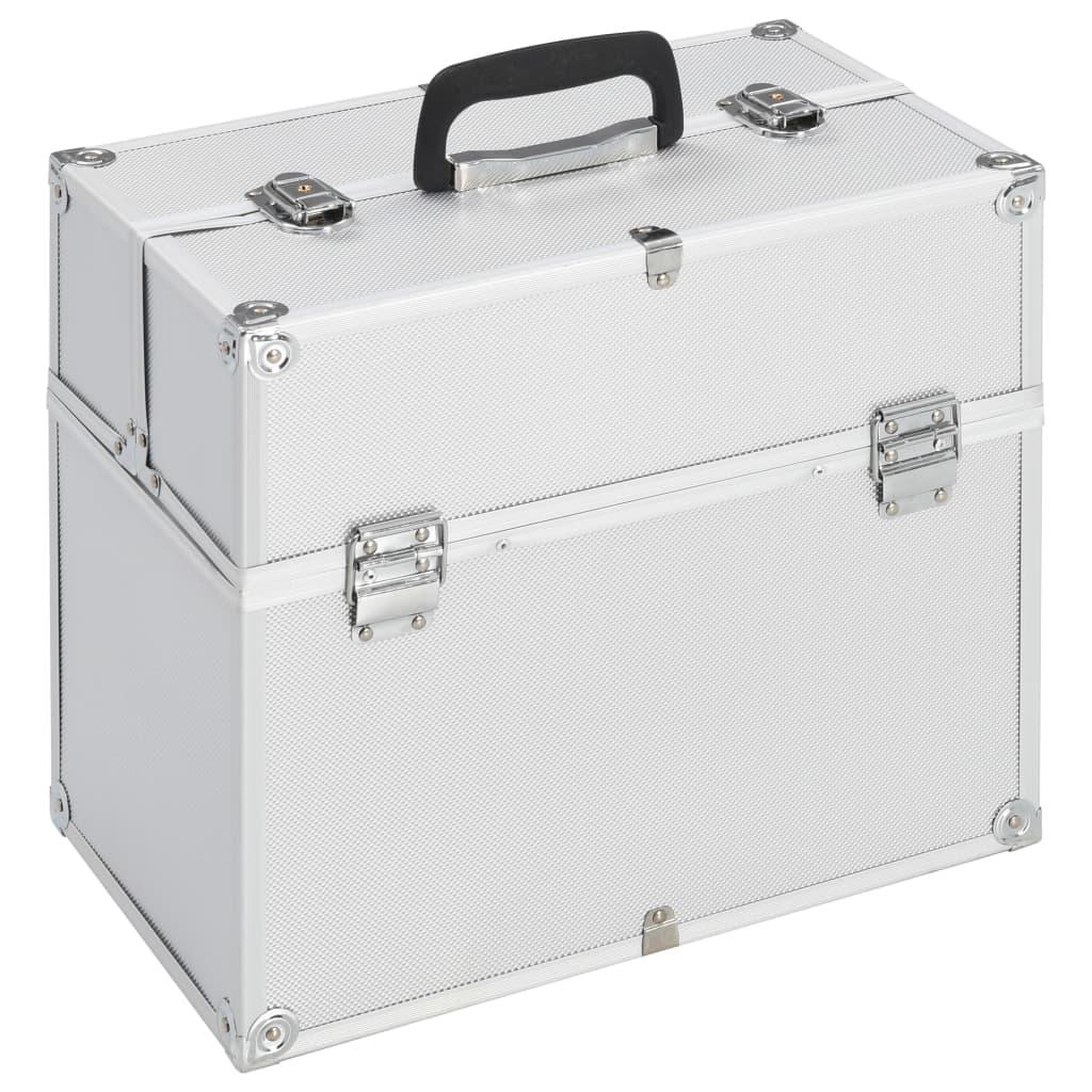 vidaXL Make-up koffer 37x24x35 cm aluminium zilverkleurig