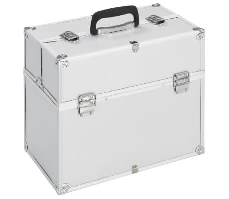 vidaXL Lagaminas kosmetikos priemonėms, sidabr., 37x24x35cm, aliuminis[1/6]