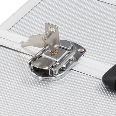 vidaXL Lagaminas kosmetikos priemonėms, sidabr., 37x24x35cm, aliuminis[6/6]