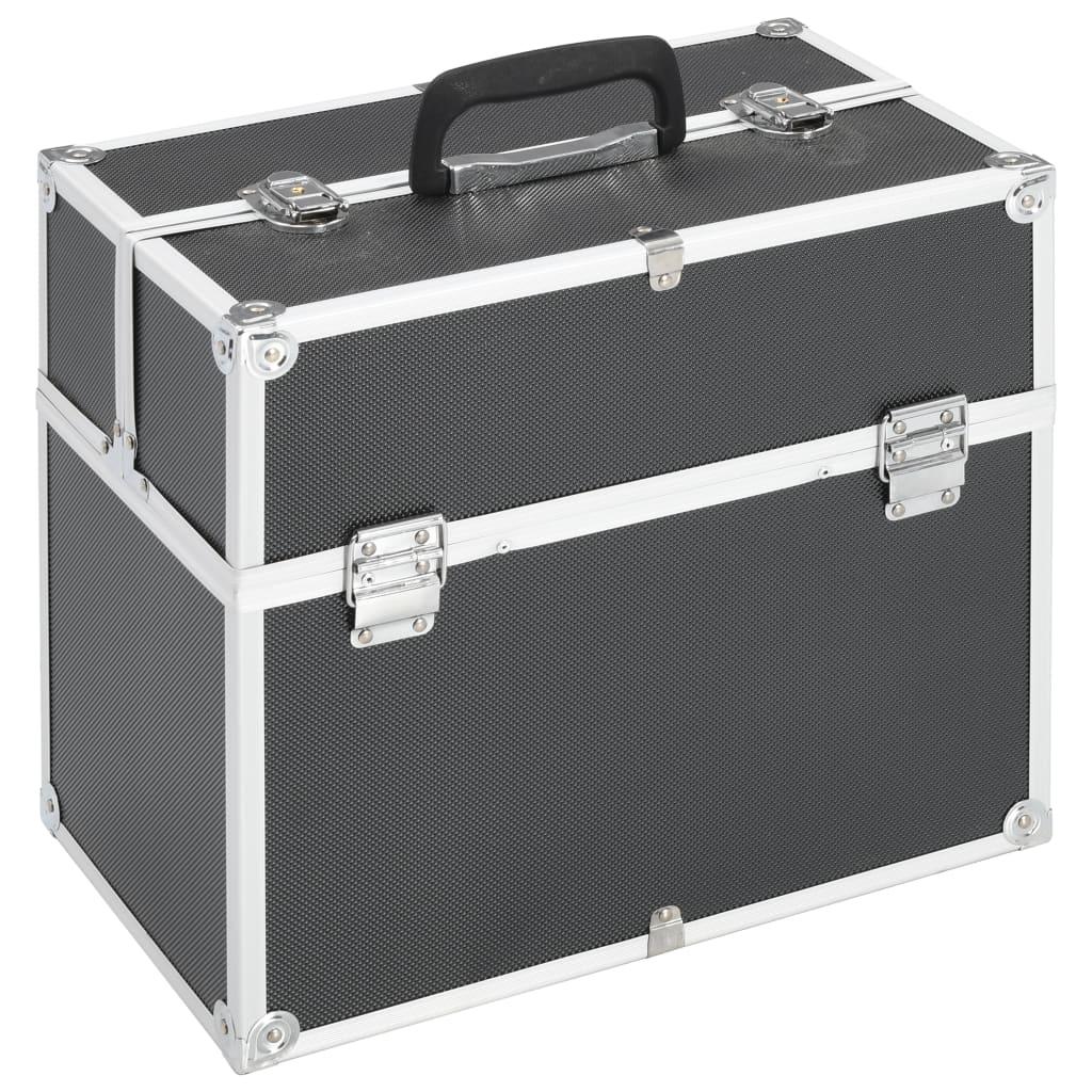 vidaXL Kosmetický kufřík 37 x 24 x 35 cm černý hliník