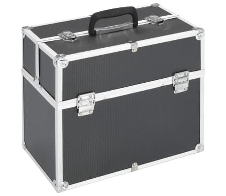 vidaXL Kuferek na kosmetyki, 37 x 24 x 35 cm, czarny, aluminiowy