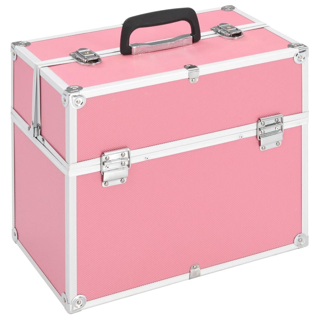vidaXL Make-up koffer 37x24x35 cm aluminium roze