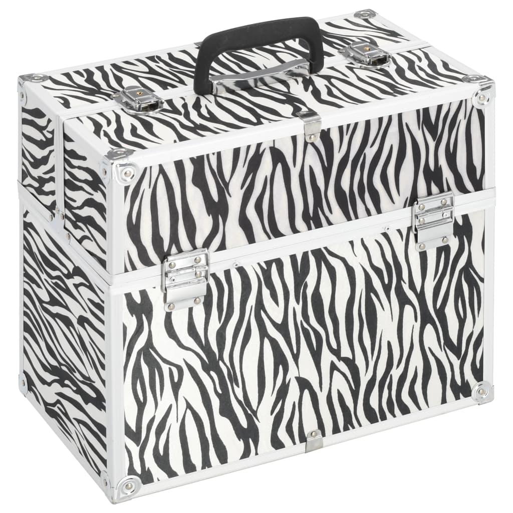 vidaXL Make-up koffer 37x24x35 cm aluminium zebrastreep
