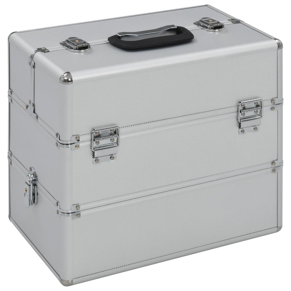 vidaXL Kosmetický kufřík 37 x 24 x 35 cm stříbrný hliník