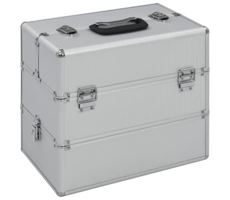 vidaXL Lagaminas kosmetikos priemonėms, sidab. sp., 37x24x35cm, alium.[1/7]