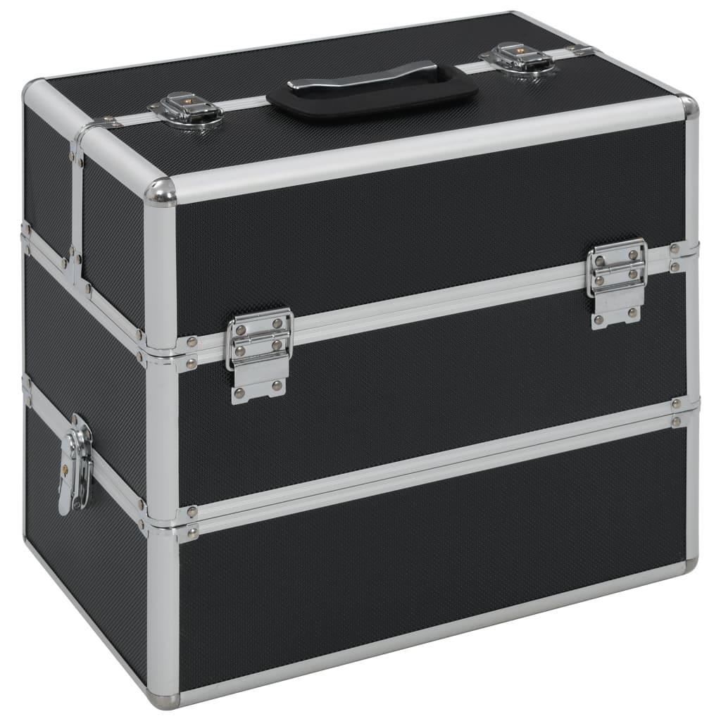 vidaXL Geantă de cosmetice, negru, 37 x 24 x 35 cm, aluminiu imagine vidaxl.ro