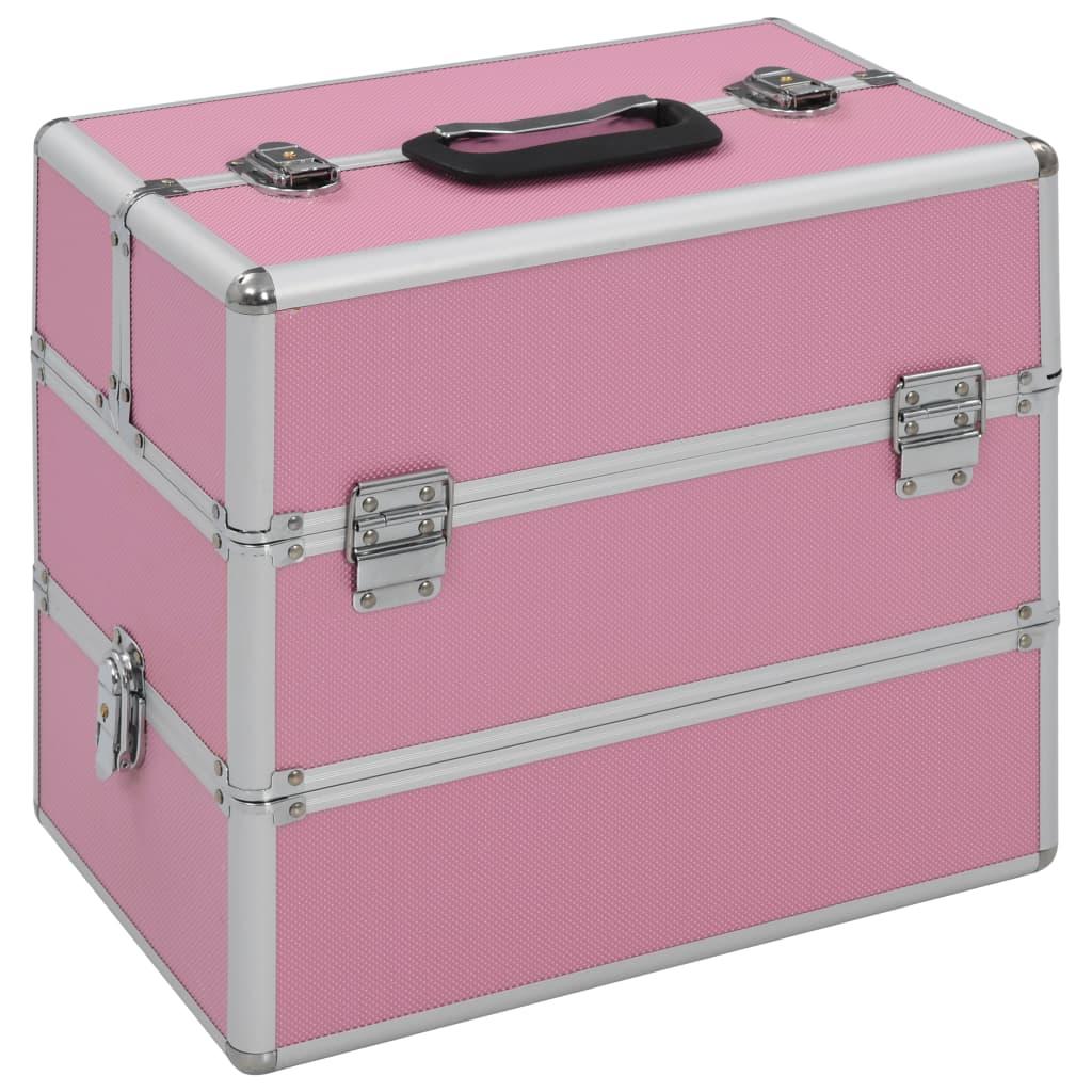 vidaXL Geantă de cosmetice, roz, 37 x 24 x 35 cm, aluminiu poza 2021 vidaXL