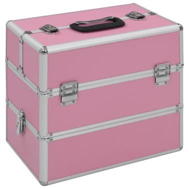 vidaXL Kuferek na kosmetyki, 37 x 24 x 35 cm, różowy, aluminiowy[1/7]
