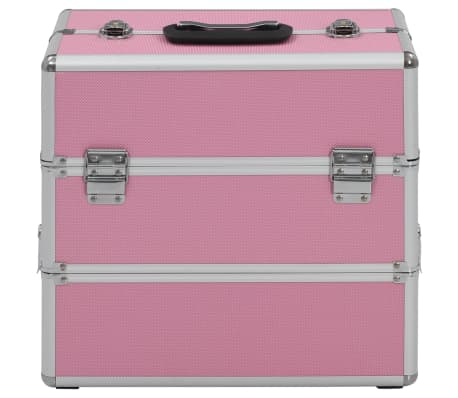 vidaXL Kuferek na kosmetyki, 37 x 24 x 35 cm, różowy, aluminiowy[2/7]