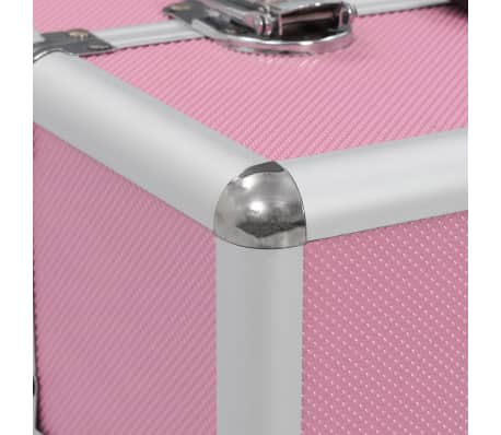 vidaXL Kuferek na kosmetyki, 37 x 24 x 35 cm, różowy, aluminiowy[6/7]