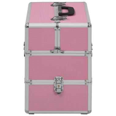 vidaXL Kuferek na kosmetyki, 37 x 24 x 35 cm, różowy, aluminiowy[3/7]