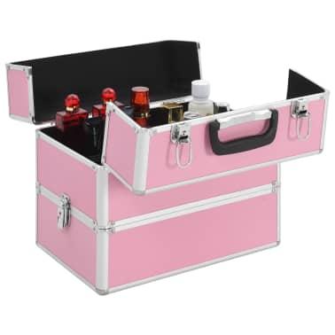 vidaXL Kuferek na kosmetyki, 37 x 24 x 35 cm, różowy, aluminiowy[4/7]