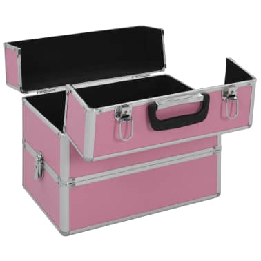 vidaXL Kuferek na kosmetyki, 37 x 24 x 35 cm, różowy, aluminiowy[5/7]