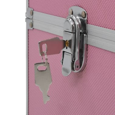 vidaXL Kuferek na kosmetyki, 37 x 24 x 35 cm, różowy, aluminiowy[7/7]