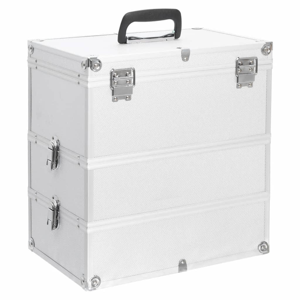 vidaXL Make-up koffer 37x24x40 cm aluminium zilverkleurig