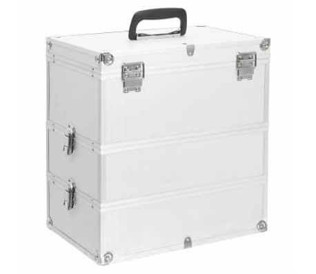 vidaXL Lagaminas kosmetikos priemonėms, sidabr., 37x24x40cm, aliuminis