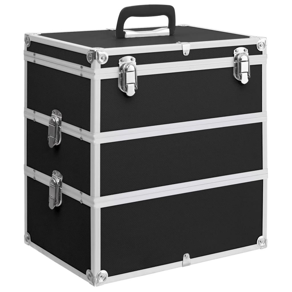 vidaXL Geantă de cosmetice, 37 x 24 x 40 cm, negru, aluminiu imagine vidaxl.ro