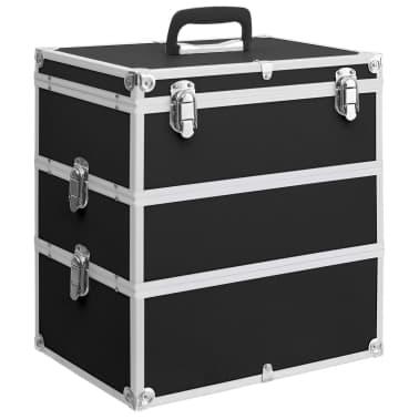 vidaXL Kuferek na kosmetyki, 37 x 24 x 40 cm, czarny, aluminiowy[1/8]