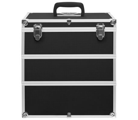 vidaXL Kuferek na kosmetyki, 37 x 24 x 40 cm, czarny, aluminiowy[3/8]