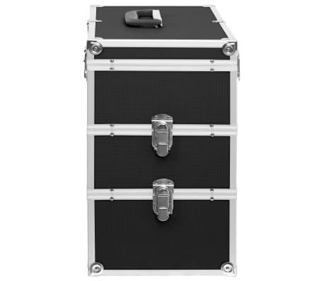 vidaXL Kuferek na kosmetyki, 37 x 24 x 40 cm, czarny, aluminiowy[5/8]