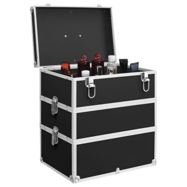 vidaXL Kuferek na kosmetyki, 37 x 24 x 40 cm, czarny, aluminiowy[2/8]
