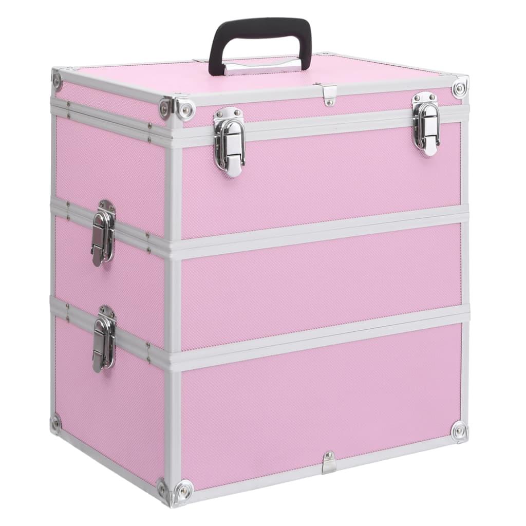 vidaXL Make-up koffer 37x24x40 cm aluminium roze