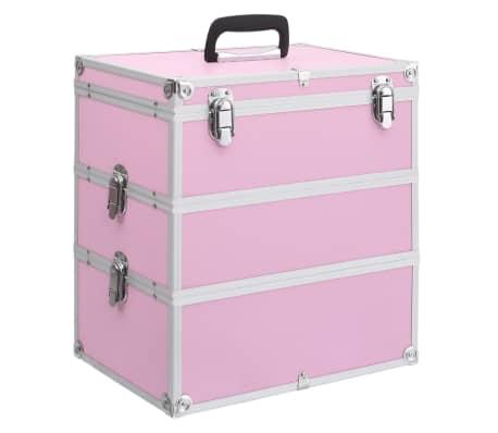 vidaXL Lagaminas kosmetikos priemonėms, rožinis, 37x24x40cm, aliuminis