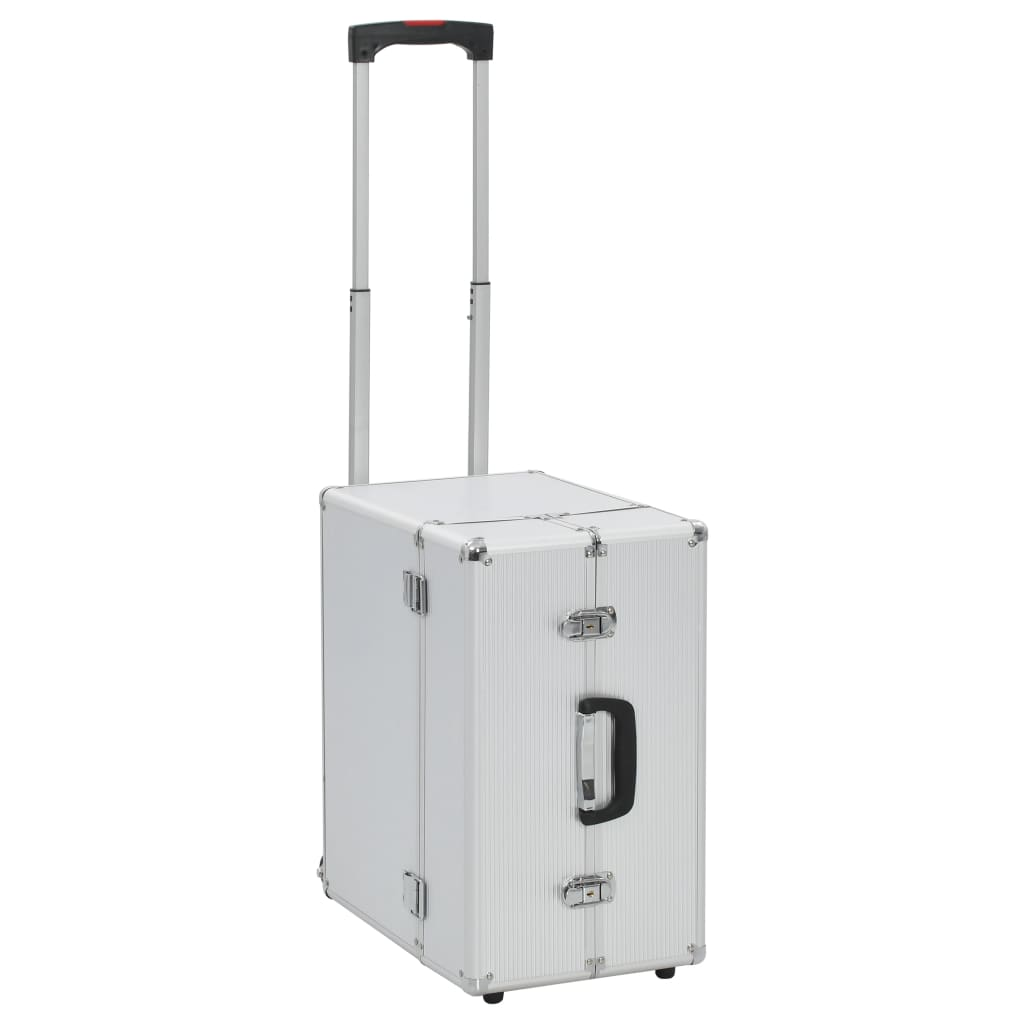 vidaXL Pilotní kufr na kolečkách 47 x 39 x 27 cm stříbrný hliníkový