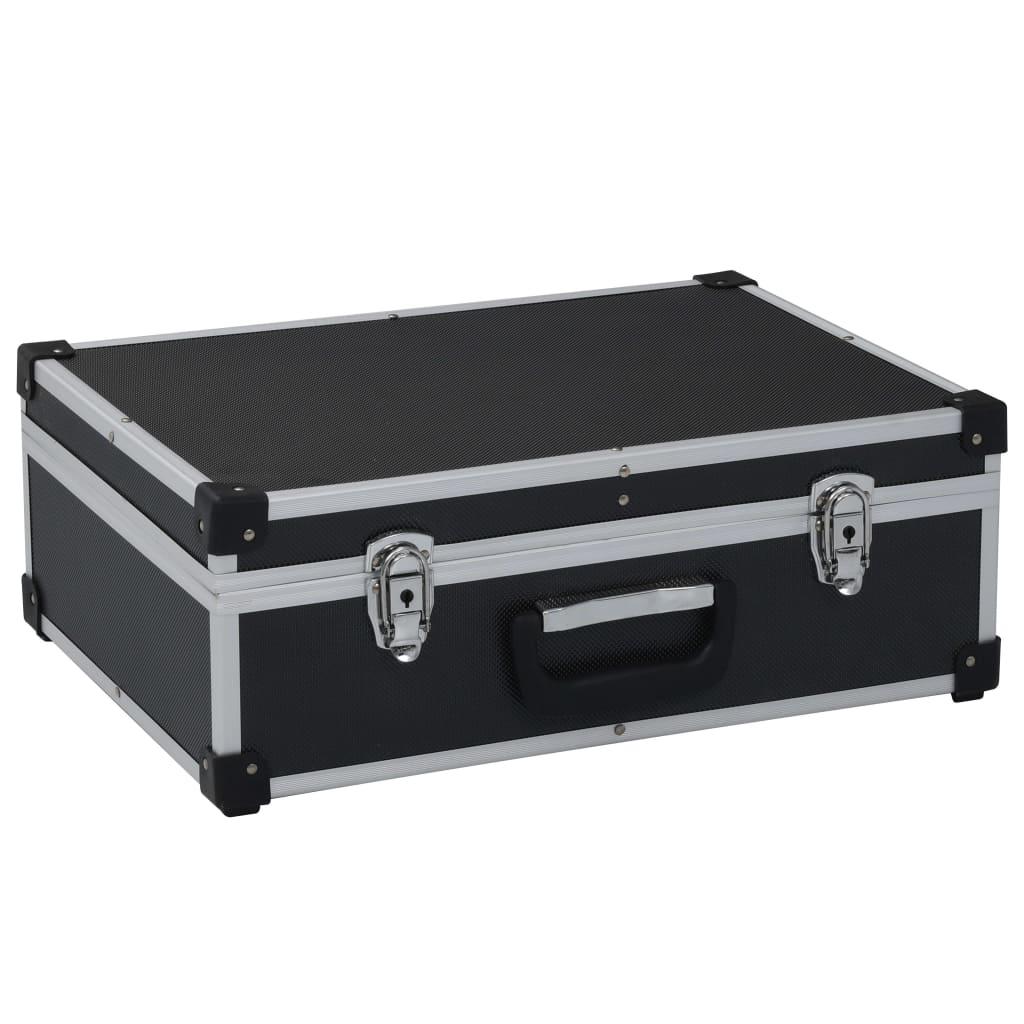 vidaXL Valiză de scule, negru, 46 x 33 x 16 cm, aluminiu poza vidaxl.ro