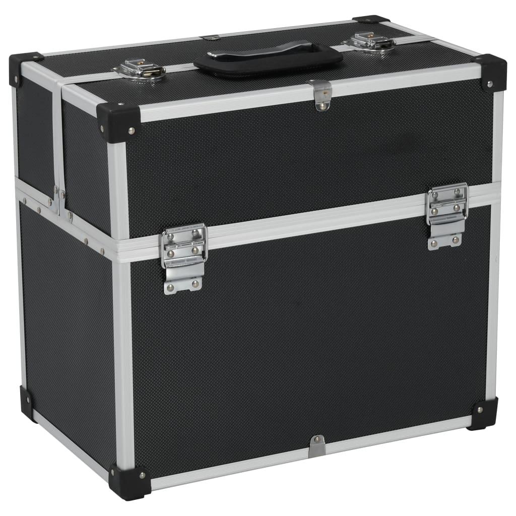 vidaXL Cutie de scule, negru, 43,5x22,5x34 cm, aluminiu poza vidaxl.ro