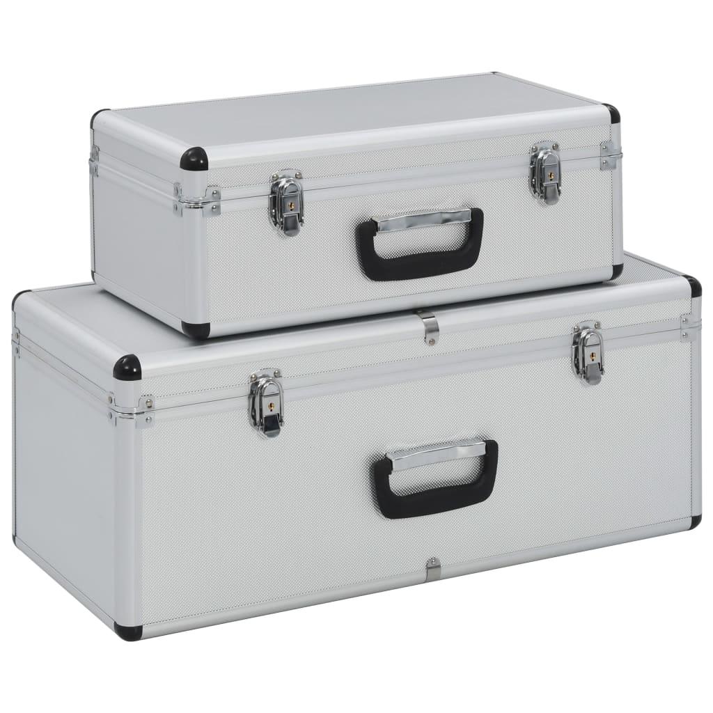 vidaXL Cutii de depozitare, 2 buc., argintiu, aluminiu poza vidaxl.ro