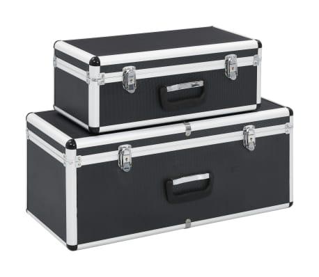 vidaXL Förvaringsväskor 2 st svart aluminium
