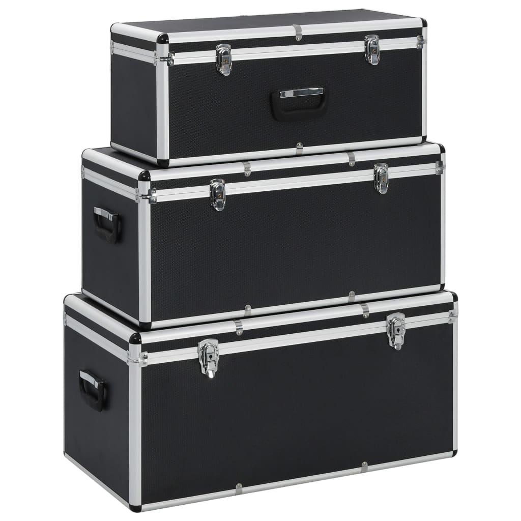 vidaXL Cutii de depozitare, 3 buc., negru, aluminiu poza vidaxl.ro