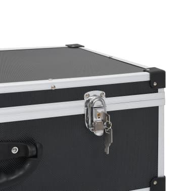 vidaXL Kompaktinių diskų dėklas 80 diskų, juod. sp., aliuminis, ABS[8/8]