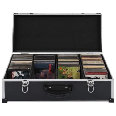 vidaXL Kompaktinių diskų dėklas 80 diskų, juod. sp., aliuminis, ABS[1/8]