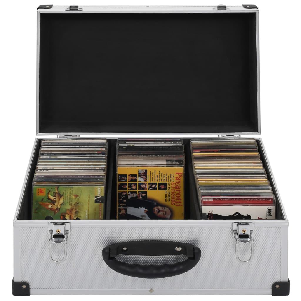 vidaXL Kufr na CD na 60 CD hliník ABS stříbrný