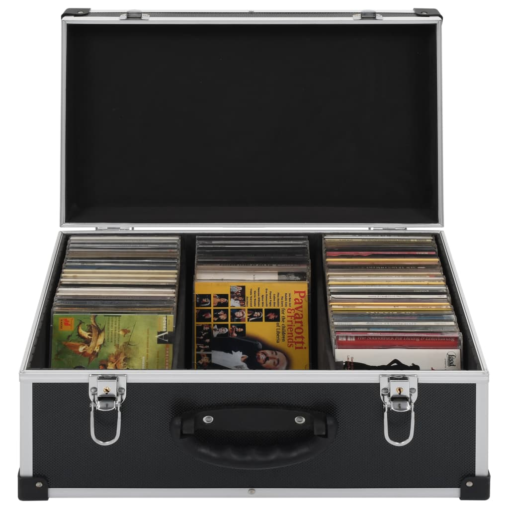vidaXL Casetă pentru 80 CD-uri, aluminiu, ABS, negru imagine vidaxl.ro