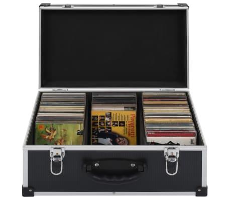 vidaXL Kompaktinių diskų dėklas 60 diskų, juod. sp., aliuminis, ABS[1/8]