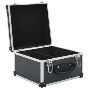 vidaXL Kompaktinių diskų dėklas 40 diskų, juod. sp., aliuminis, ABS[5/8]