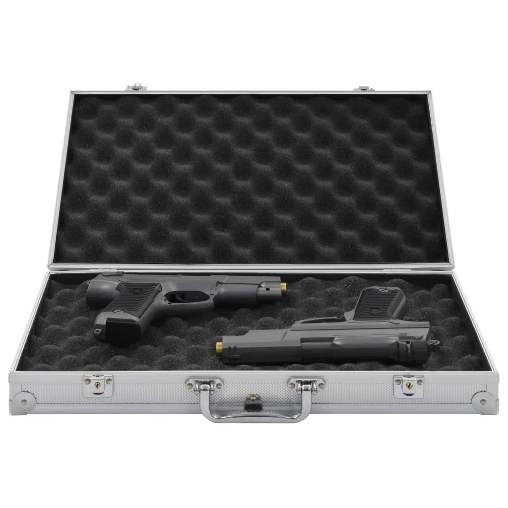 vidaXL Kufr na zbraň hliník ABS stříbrný