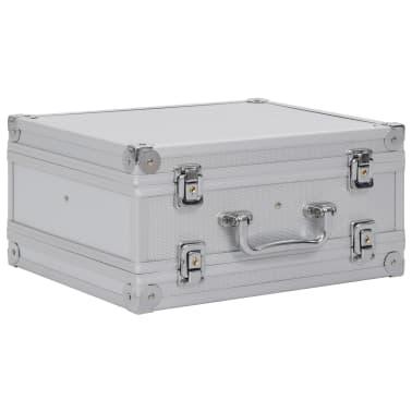 vidaXL Kovček za pištolo aluminij in ABS srebrn[2/8]