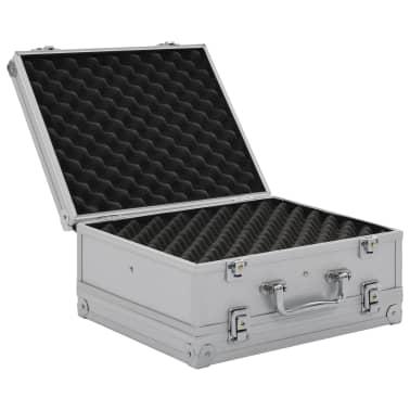 vidaXL Kovček za pištolo aluminij in ABS srebrn[5/8]