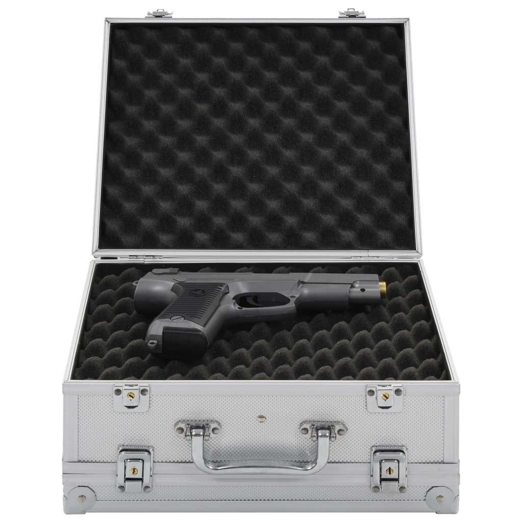 vidaXL Valiză pentru armă, argintiu, aluminiu ABS poza vidaxl.ro