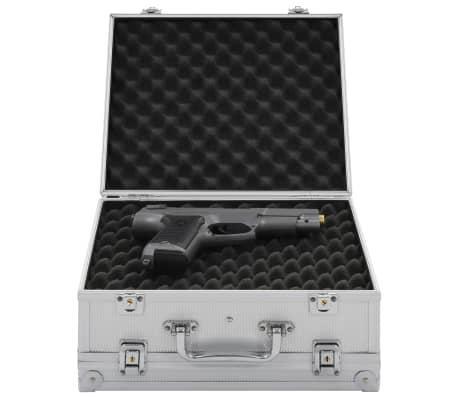 vidaXL Kovček za pištolo aluminij in ABS srebrn[1/8]